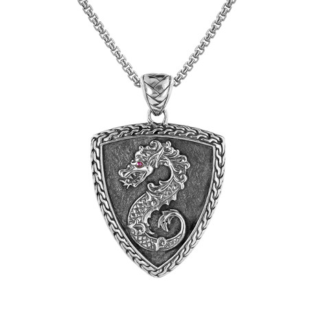 Men's Carved Dragon Shield Penant Necklace // Silver