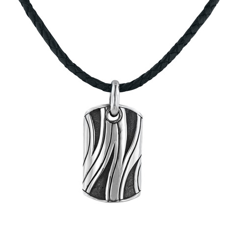 Silver + Leather Dog Tag Necklace