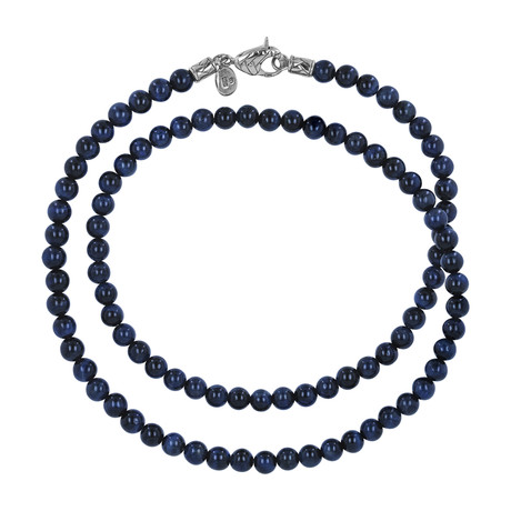 Silver + Tiger's Eye Beaded Necklace // Blue
