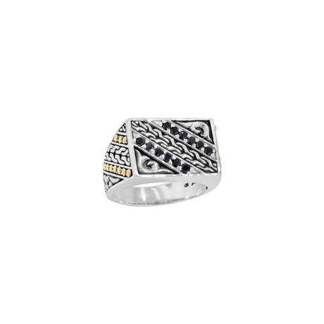 Two-Tone Silver + Gold Spinel Signet Ring // Black (9)