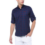 Cole Button-Up Shirt // Dark Blue + Burgundy (Medium)