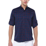 Cole Button-Up Shirt // Dark Blue + Burgundy (Large)