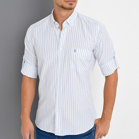 Steven Button-Up Shirt // White + Blue (X-Large)
