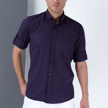 Drew Button-Up Shirt // Dark Blue + Burgundy (Small)