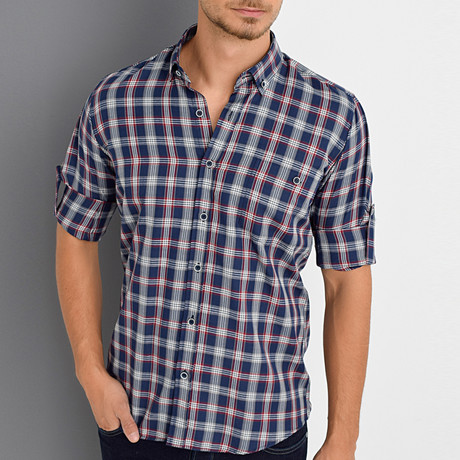 Tommy Shirt // Dark Blue + Burgundy (Small)