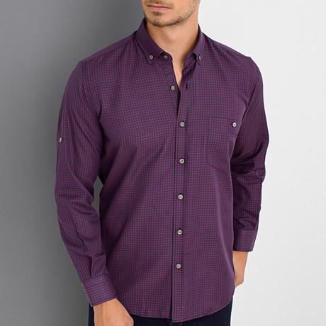 Brett Button Up Shirt // Burgundy (Small)