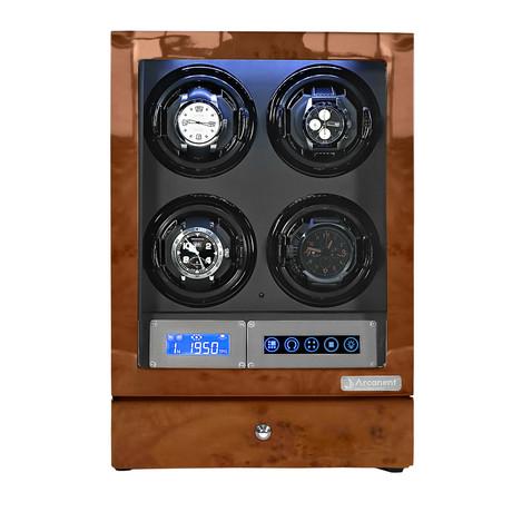 Arcanent 4 Slot LCD Digital Watch Winder // Honey Burlwood