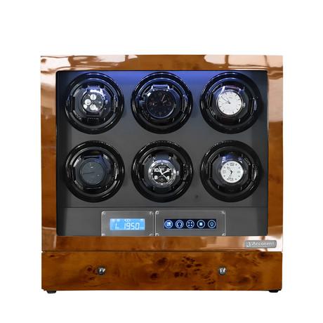 Arcanent 6 Slot LCD Digital Watch Winder // Honey Burlwood