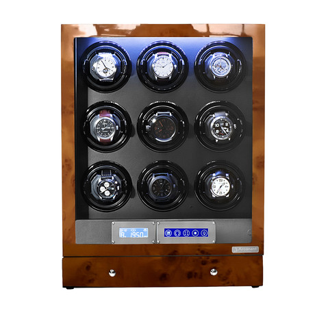 Arcanent 9 Slot LCD Digital Watch Winder // Honey Burlwood