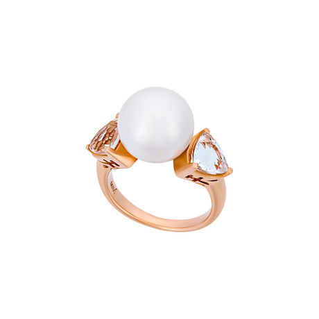 Mimi Milano 18k Rose Gold Rock Crystal + Pearl Ring // Ring Size: 6.75