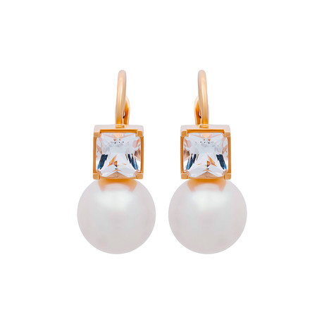 Mimi Milano 18k Yellow Gold Crystal Rock + Pearl Earrings