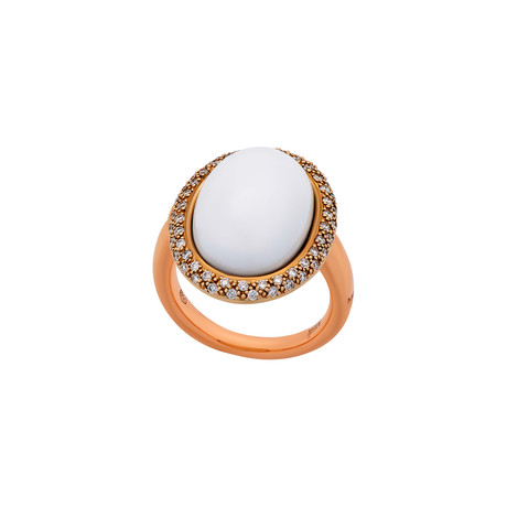 Mimi Milano 18k Rose Gold White Agate + Diamond Ring // Ring Size: 6.75