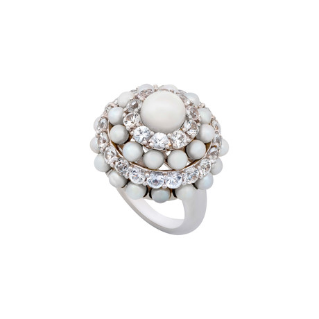 Mimi Milano 18k White Gold White Sapphire + White Cultured Pearl Ring // Ring Size: 6.25