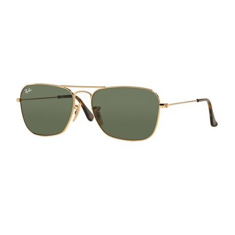 Unisex Caravan Sunglasses // Gold + Dark Green