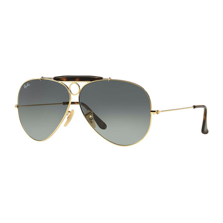 Unisex Shooter Sunglasses // Gold + Gray Gradient