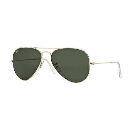 Unisex Aviator Large Sunglasses // Gold + Green Classic