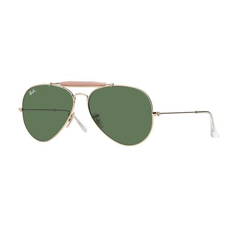 Unisex Aviator Large Sunglasses // Gold + Green