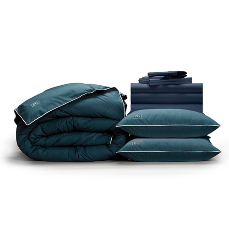 Luxe Soft & Smooth Perfect Bedding Bundle + Down-Alt Gel Fiber // Dark Navy (Full)