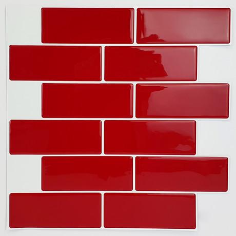 Cherry Red Glossy 3D Metro Sticker Tiles
