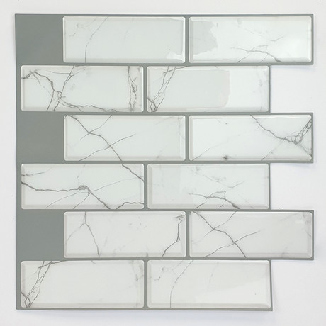 White Marble Eclectic 3D Metro Sticker Tiles