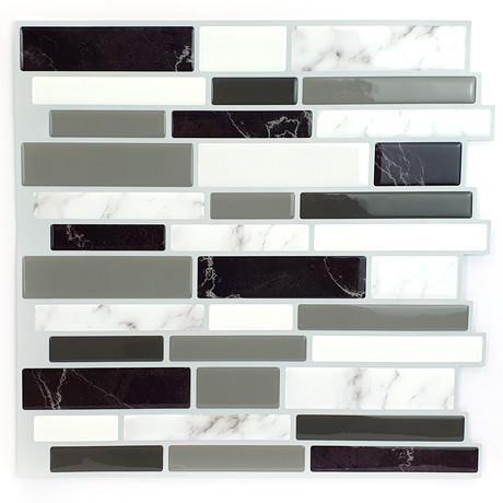 Light + Dark Marble Glossy 3D Metro Sticker Tiles