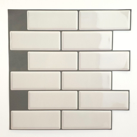 White Glossy 3D Metro Sticker Tiles