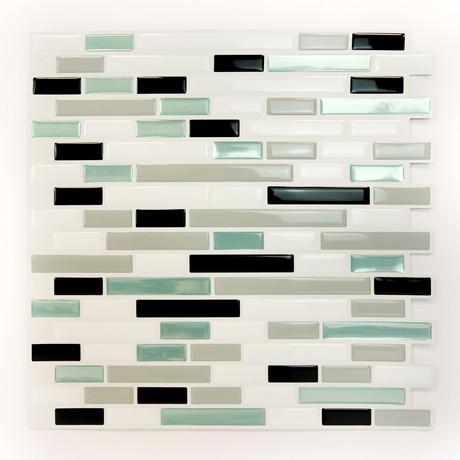 Metallic Turquoise Mosaic Glossy 3D Metro Sticker Tiles