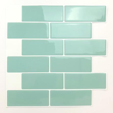 Green Sea Glossy 3D Metro Sticker Tiles