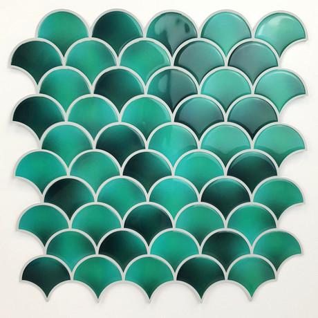 Fresh Turquoise Glossy 3D Metro Sticker Tiles