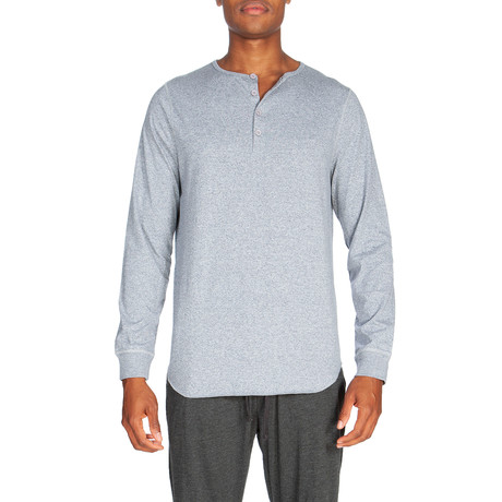 Super Soft Long-Sleeve Lounge Henley // Melange Light Gray (S)