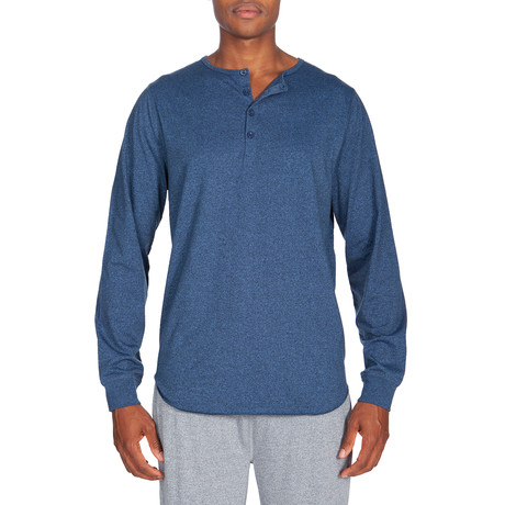Super Soft Long-Sleeve Lounge Henley // Melange Medium Blue (S)
