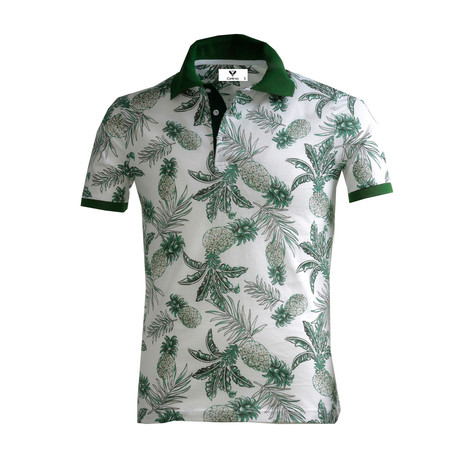 Abe Shirt // White + Green Pineapples (S)