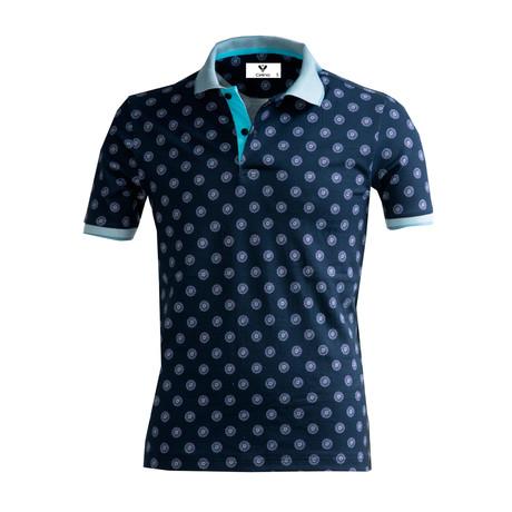 Hum Shirt // Navy + Turquoise Blue (S)