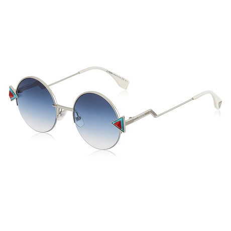 Fendi // Men's 0243S Round Sunglasses // Silver + Blue Gradient