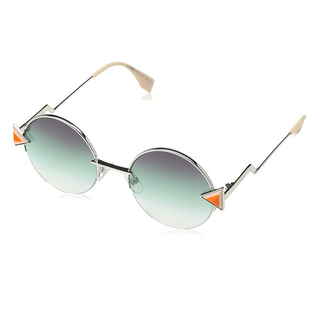 Men's 0243S Round Sunglasses // Silver + Purple + Green