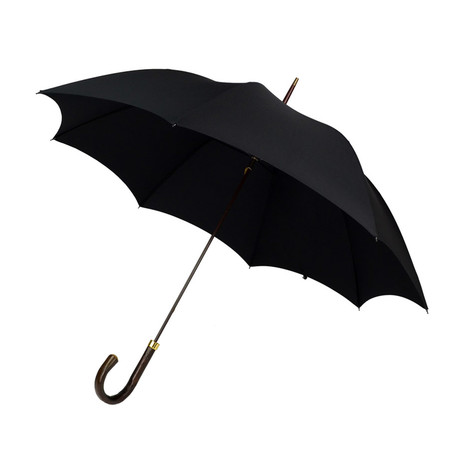 Bark Chestnut Handle + Tip Cup Umbrella // Black