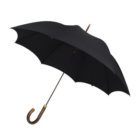 Natural Hazel Handle + Tip Cup Umbrella // Black