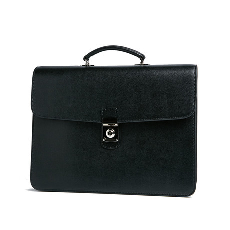 Italian Saffiano Leather Double Gusset Briefcase // Black