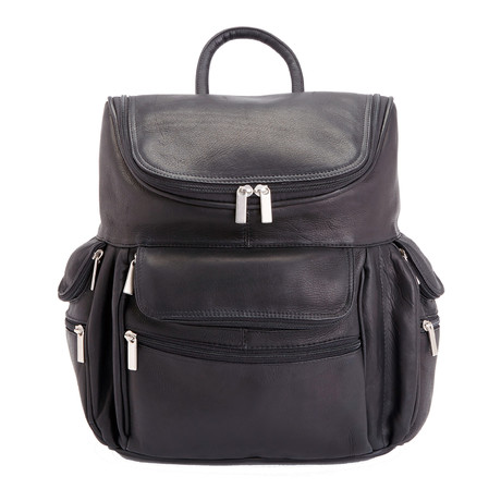 """Colombian Leather 15"""" Laptop Backpack // Black"""