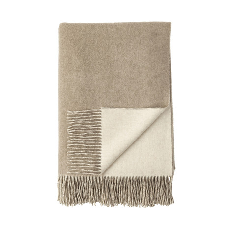 Cashmere Reversible Throw // Queen // Light Brown + Light Grey