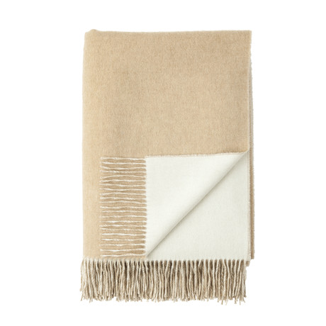 Cashmere Reversible Throw // Queen // Fawn + White