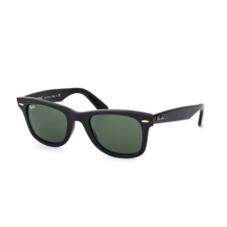Unisex Classic Wayfarer Sunglasses // Shiny Black + Green