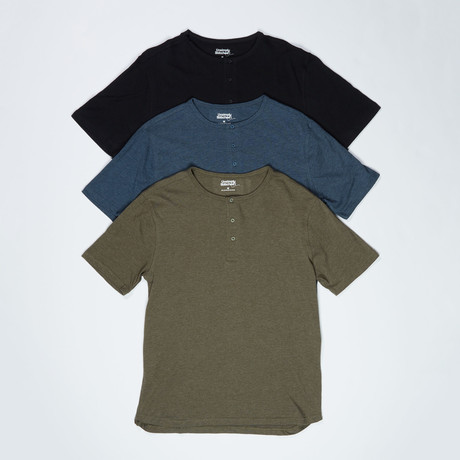 3 Pack Super Soft 3 Button Short Sleeve T // Multicolor (S)