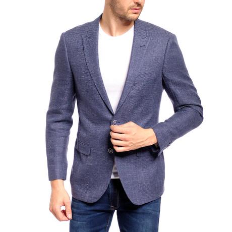 Linen Blend Slim Fit Sport Jacket // Light Blue (US: 36S)