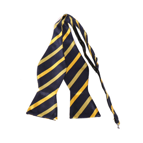 Self-Tie Bow Tie // Navy Blue + Yellow