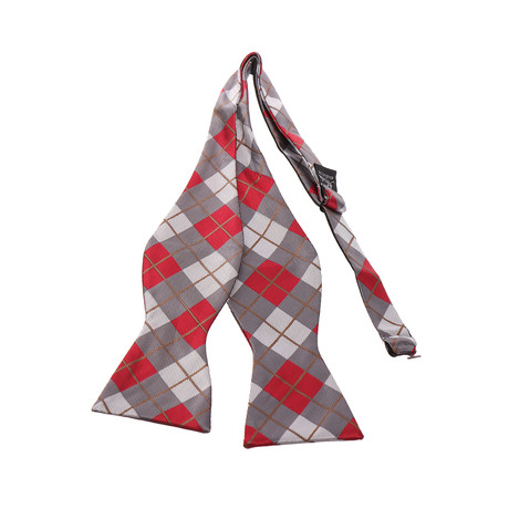 Self-Tie Bow Tie // Red + Gray Plaid
