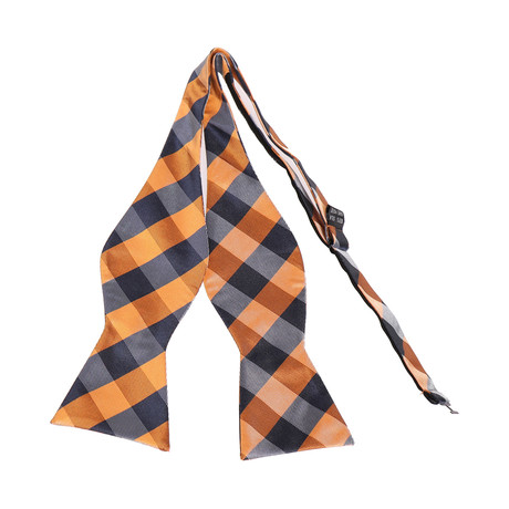 Self-Tie Bow Tie // Orange + Black Plaid