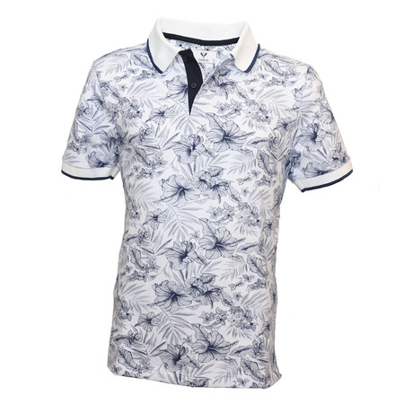 Cox Shirt // White + Dark Blue Floral (S)