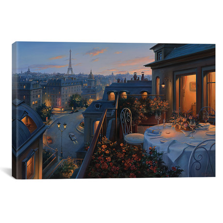 "Paris Evening // Evgeny Lushpin (40""W x 26""H x 1.5""D)"