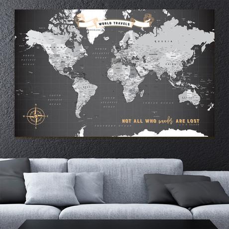 "Modern Canvas World Push Pin Map // 60""W x 40""H"
